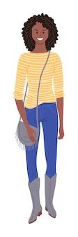 Afro-amerikaanse vrouw. afro-amerikaanse etniciteit vrouw, gekleed in trendy hipster outfit staande geïsoleerd op een witte achtergrond. jong cijfer in overhemd, jeans, laarzen die handtasillustratie houden