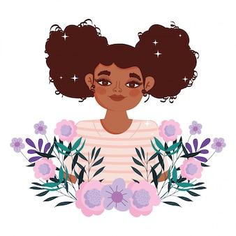 Afro-amerikaanse vrouw cartoon bloemen gebladerte portret vectorillustratie