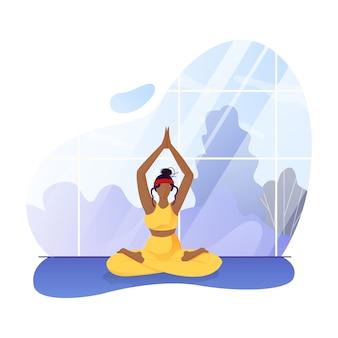 Afro-amerikaanse vrouw mediteren thuis broeikasgassen