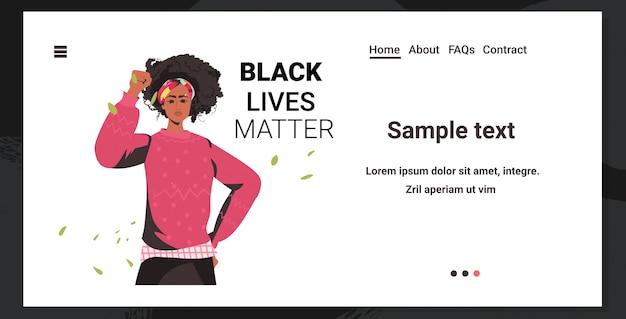 Afro-amerikaanse vrouw tegen rassendiscriminatie zwarte levens zijn belangrijk concept sociale problemen van racisme