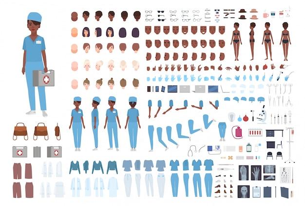 Afro-amerikaanse vrouwelijke paramedicus of verpleegkundige constructor. set vrouw lichaam details, gebaren, scrubs geïsoleerd. voor-, zij- en achteraanzicht. flat cartoon illustratie.