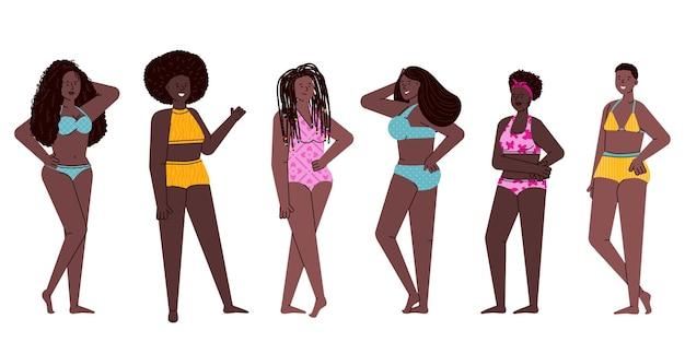 Afro-amerikaanse vrouwen met verschillende kapsels geïsoleerd