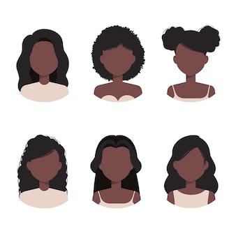 Afro-amerikaanse vrouwencollectie avatar met verschillende kapsels en kapsels