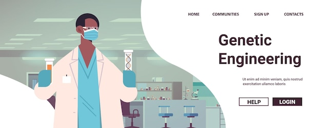 Afro-amerikaanse wetenschapper in masker die met dna in reageerbuizen werkt onderzoeker die experiment maakt in laboratorium dna-testen van genetische manipulatie-diagnose