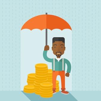 Afro-amerikaanse zakenman met paraplu als bescherming voor zijn investering.