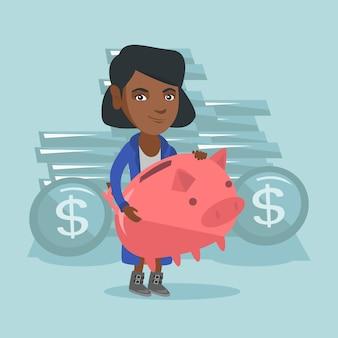 Afro-amerikaanse zakenvrouw bedrijf spaarvarken