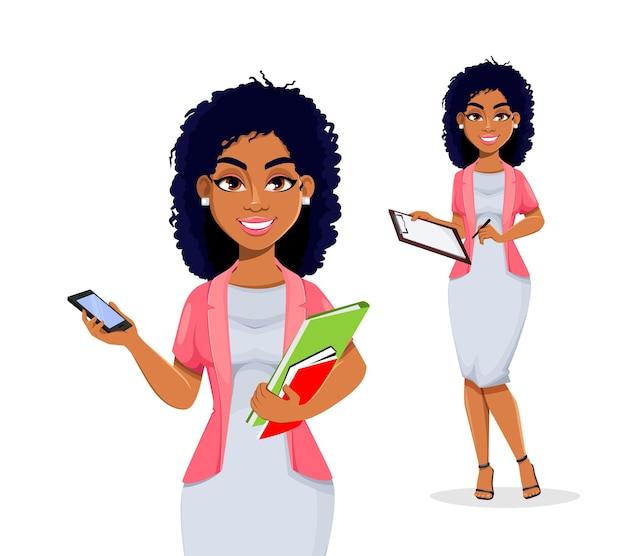 Afro-amerikaanse zakenvrouw set van twee poses