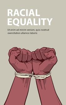 Afro-amerikaanse zwarte vuisten vastgebonden met touw stop racisme rassengelijkheid zwarte levens kwestie concept verticale kopie ruimte