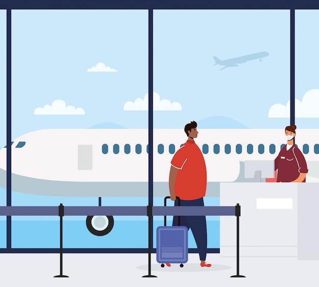 Afro jonge man met koffer in luchthaven