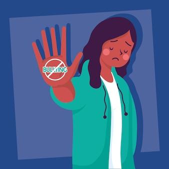 Afro jonge vrouw slachtoffer van pesten met stopsignaal