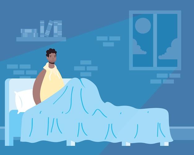 Afro man die lijdt aan slapeloosheid karakter illustratie