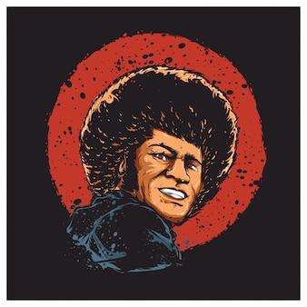 Afro man illustratie