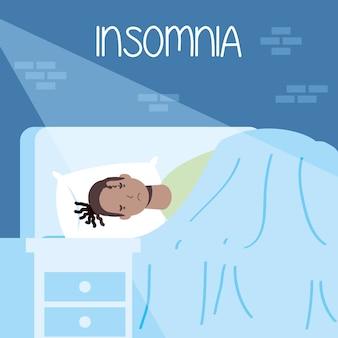 Afro rasta man die lijdt aan slapeloosheid karakter illustratie