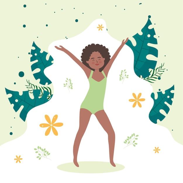 Afro vrouw cartoon met handen omhoog en bladeren