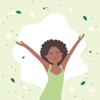 Afro vrouw cartoon met handen omhoog