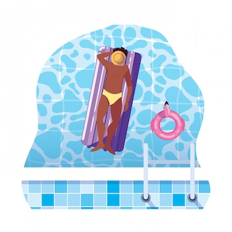 Afromens met zwempak en vlottermatras in water