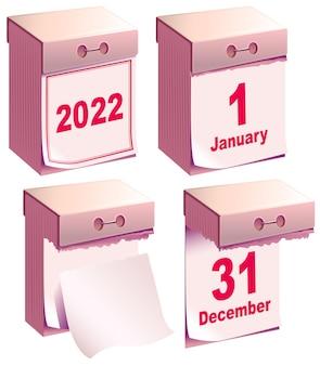 Afscheurkalender 2022. nieuwe jaar schone kalendersjabloon december en januari maand