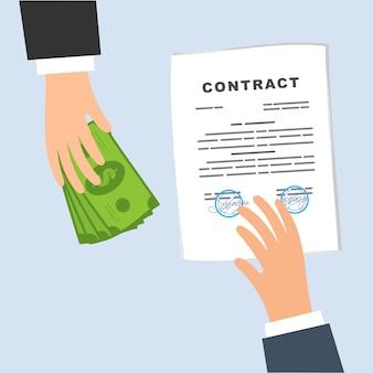Afsluiten van een contract. zakelijke deal, uitwisseling van geld voor een document.