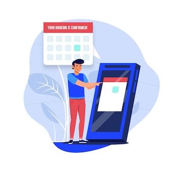 Afspraak boeken met man en smartphone