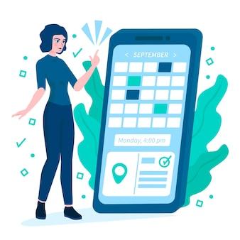 Afspraak boeken met smartphone en vrouw