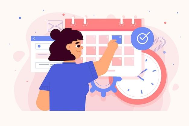 Afspraak boeken met vrouw die kalender controleert