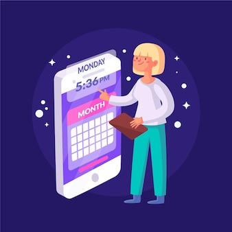 Afspraak boeken met vrouw en smartphone