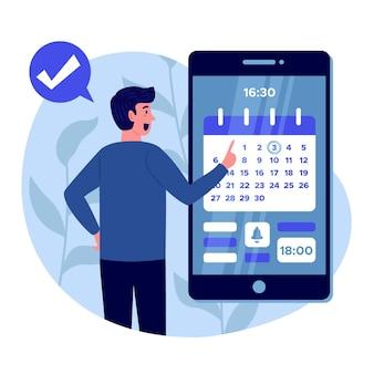 Afspraak boeken op smartphone concept