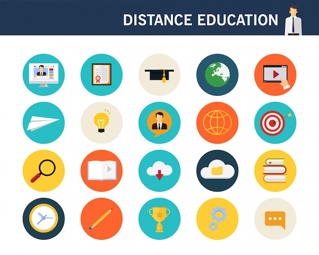 Afstand onderwijs concept plat pictogrammen