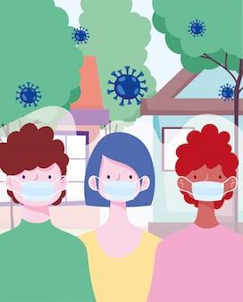 Afstand sociale coronavirus covid 19 van preventie, mensen met beschermend masker in straat vectorillustratie