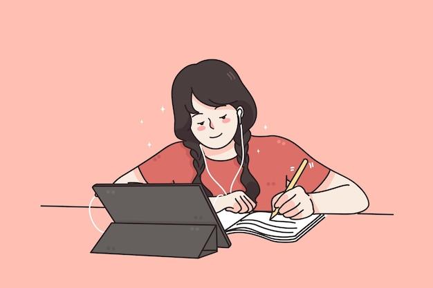 Afstands- en e-learning onderwijs vanuit huis concept
