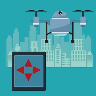 Afstandsbediening en blauwe robot drone met twee airscrew vliegen