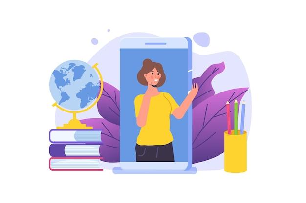 Afstandsonderwijs online onderwijs video tutorials concepten vector illustratie