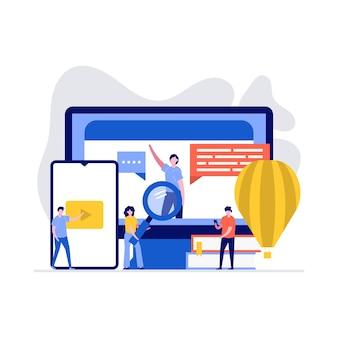 Afstandsonderwijs technologie illustratie concept. studenten studeren online op de universiteits- of hogeschoolcampus.