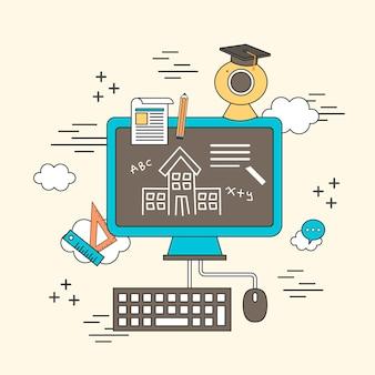 Afstandsonderwijsconcept: computer met onderwijselementen in lijnstijl