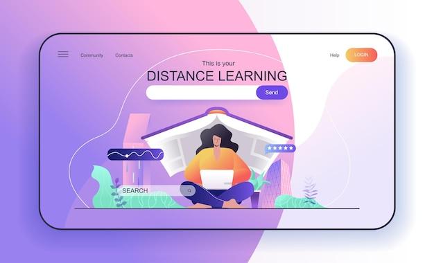 Afstandsonderwijsconcept voor vrouwelijke student op de bestemmingspagina die studeert aan laptop online onderwijs