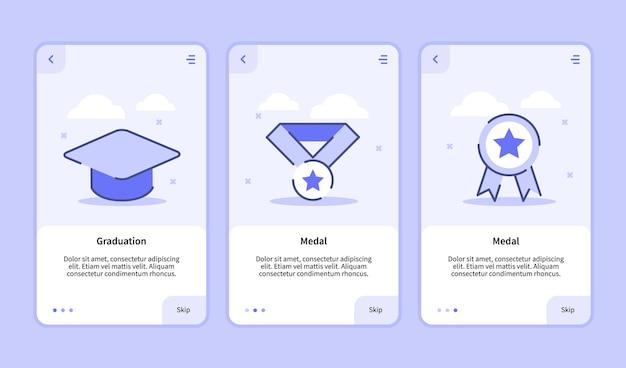 Afstudeer medaille onboarding-scherm voor de gebruikersinterface van de bannerpagina van de sjabloon voor mobiele apps Premium Vector