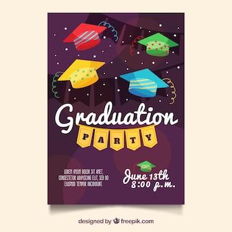 Afstudeerfeestbrochure met kleurrijke afstudeerkap