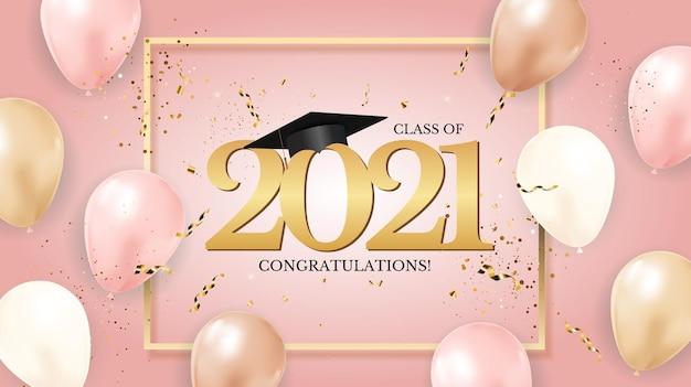 Afstudeerklas van 2021 met afstudeerpet en confetti