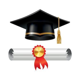 Afstudeerpet en opgerolde diploma-scroll met stempel. voltooi het onderwijsconcept.