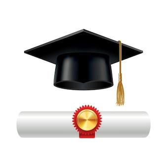 Afstudeerpet en opgerolde diploma-scroll met stempel.