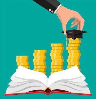 Afstudeerpet, open boek en gouden munt. onderwijsbesparingen en investeringsconcept. academische en schoolkennis. vectorillustratie in vlakke stijl