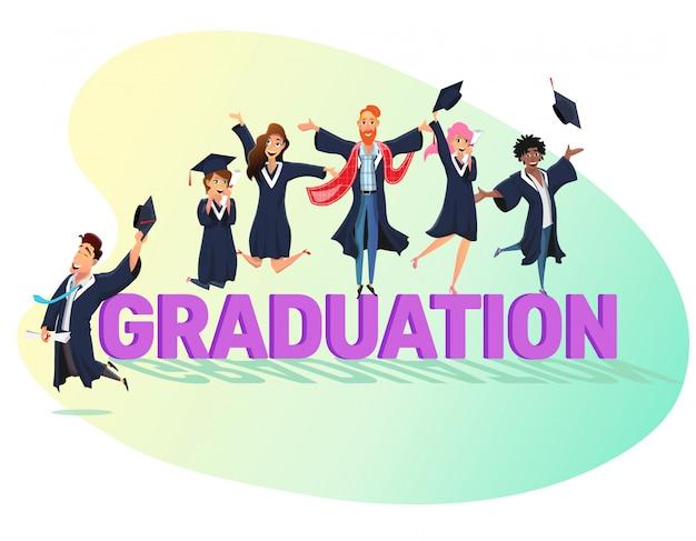 Afstuderen belettering en gelukkige studenten in jassen