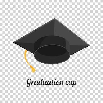 Afstuderen cap of hoed illustratie in de vlakke stijl. academische cap.