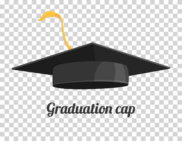 Afstuderen cap of hoed vector illustratie in de vlakke stijl.