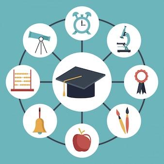 Afstuderen cap verbonden met elementen academische in pictogrammen rond