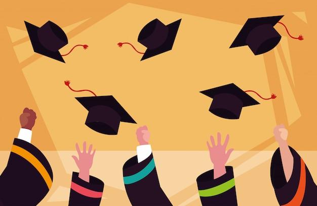 Afstuderen caps in de ceremonie
