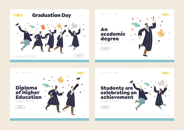 Afstuderen en hoger academisch onderwijsconcept van een reeks bestemmingspagina's met gelukkige afgestudeerde studenten die gekleed zijn in een toga en pet. cartoon plat