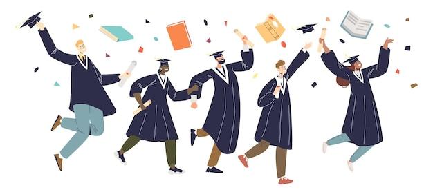 Afstuderen groep studenten, afgestudeerden vrienden in toga's vrolijk springen. de klas viert het afstuderen van de hogeschool of universiteit met een diploma. cartoon platte vectorillustratie