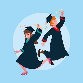 Afstuderen jongen en meisje student