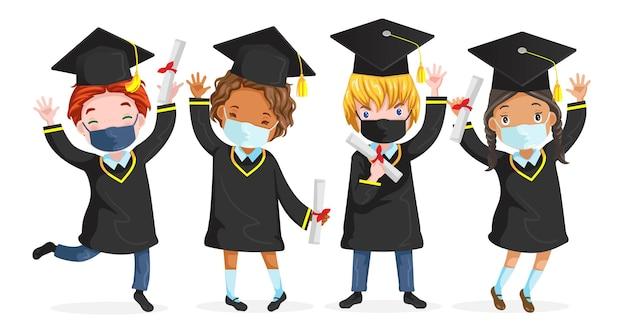 Afstuderen kind masker springen